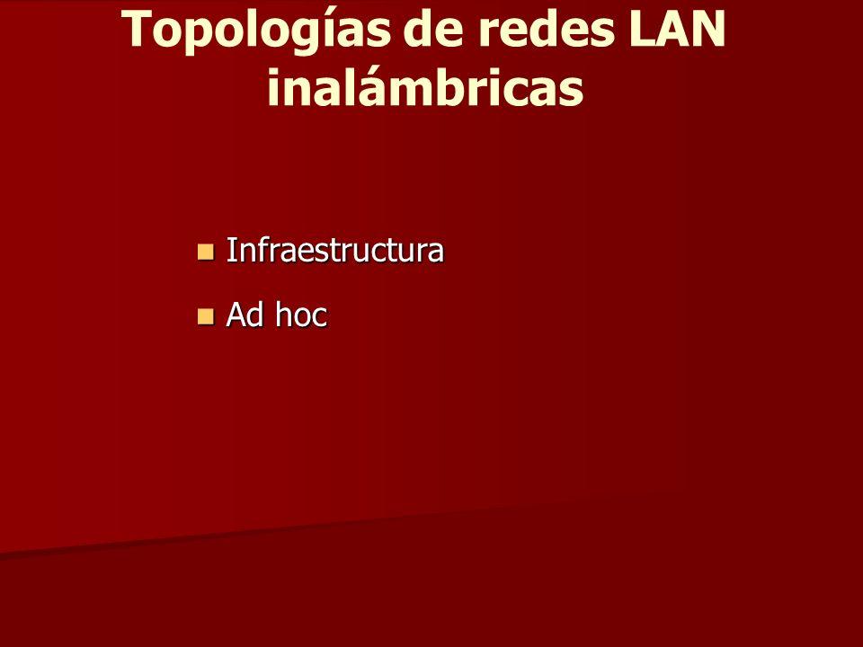 Topologías de redes LAN inalámbricas Infraestructura Infraestructura Ad hoc Ad hoc