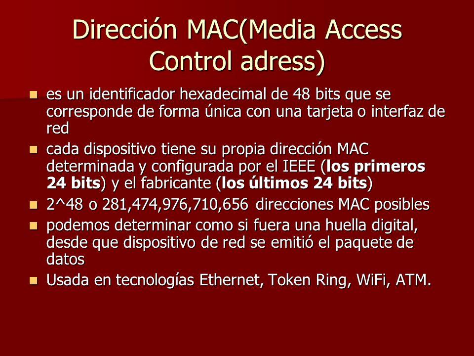 Dirección MAC(Media Access Control adress) es un identificador hexadecimal de 48 bits que se corresponde de forma única con una tarjeta o interfaz de