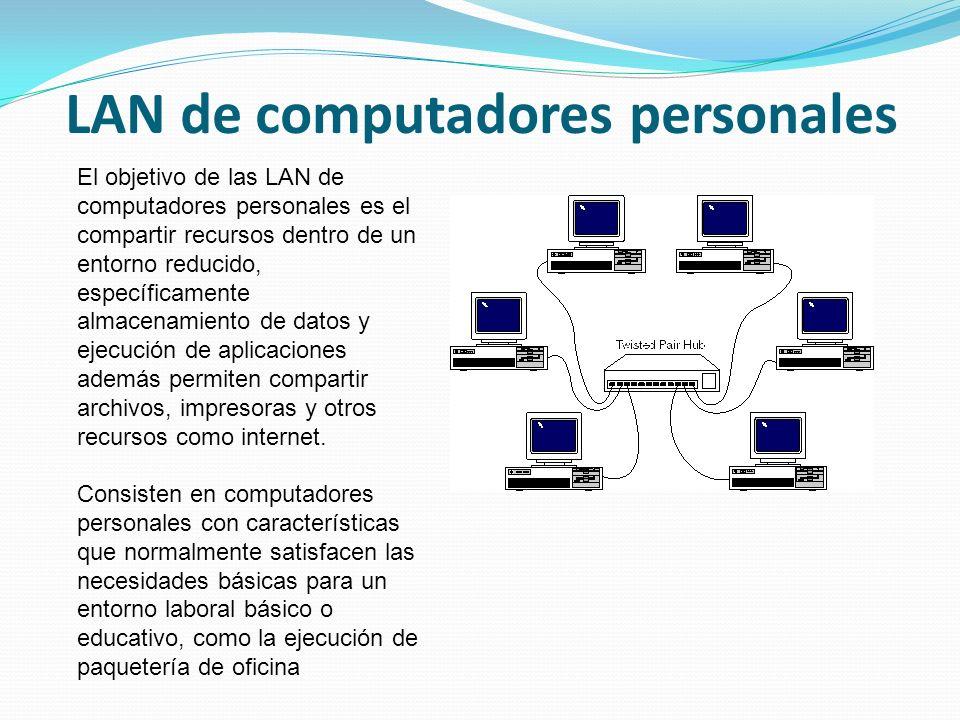 LAN de computadores personales El objetivo de las LAN de computadores personales es el compartir recursos dentro de un entorno reducido, específicamente almacenamiento de datos y ejecución de aplicaciones además permiten compartir archivos, impresoras y otros recursos como internet.