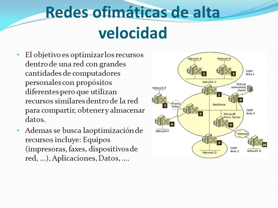 Redes ofimáticas de alta velocidad El objetivo es optimizar los recursos dentro de una red con grandes cantidades de computadores personales con propósitos diferentes pero que utilizan recursos similares dentro de la red para compartir, obtener y almacenar datos.