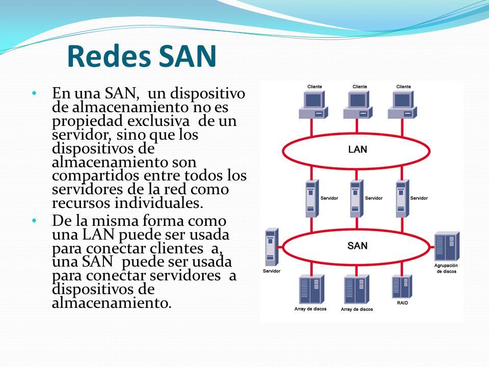 Redes SAN En una SAN, un dispositivo de almacenamiento no es propiedad exclusiva de un servidor, sino que los dispositivos de almacenamiento son compartidos entre todos los servidores de la red como recursos individuales.