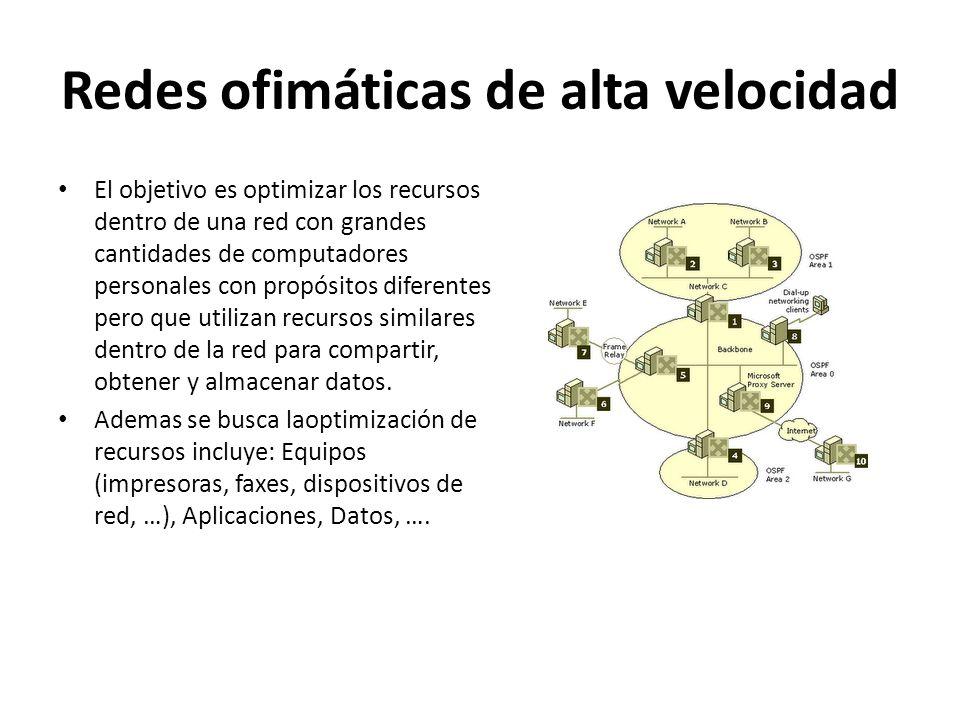 Redes ofimáticas de alta velocidad Dentro de este tipo de redes se tiene la ventaja de poder contar con medios de comunicación adiciones como el correo electrónico, voiceIP, asistencia remota de computadora a usuarios.