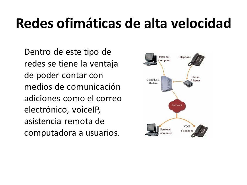 Redes ofimáticas de alta velocidad Dentro de este tipo de redes se tiene la ventaja de poder contar con medios de comunicación adiciones como el corre