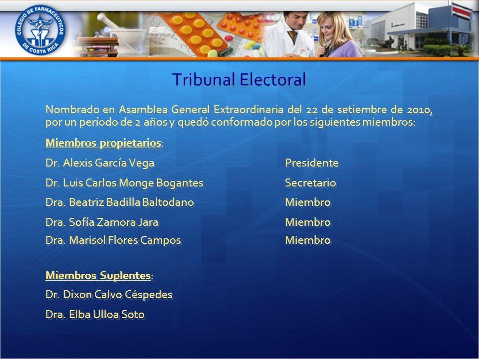 Tribunal Electoral Nombrado en Asamblea General Extraordinaria del 22 de setiembre de 2010, por un período de 2 años y quedó conformado por los siguientes miembros: Miembros propietarios: Dr.
