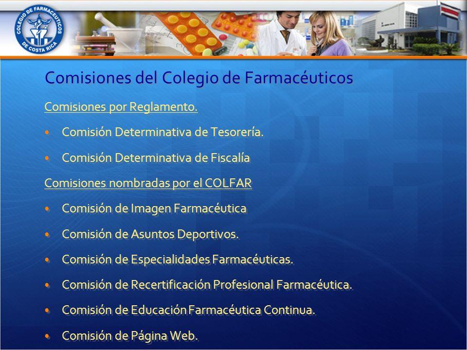 Comisiones del Colegio de Farmacéuticos Comisiones por Reglamento.