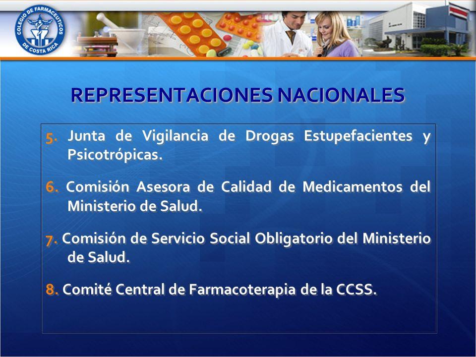 REPRESENTACIONES NACIONALES 5. Junta de Vigilancia de Drogas Estupefacientes y Psicotrópicas.