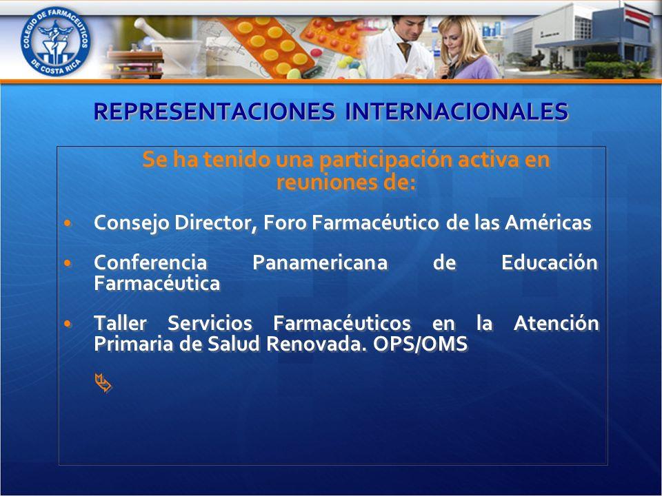 REPRESENTACIONES INTERNACIONALES Se ha tenido una participación activa en reuniones de: Consejo Director, Foro Farmacéutico de las Américas Conferencia Panamericana de Educación Farmacéutica Taller Servicios Farmacéuticos en la Atención Primaria de Salud Renovada.