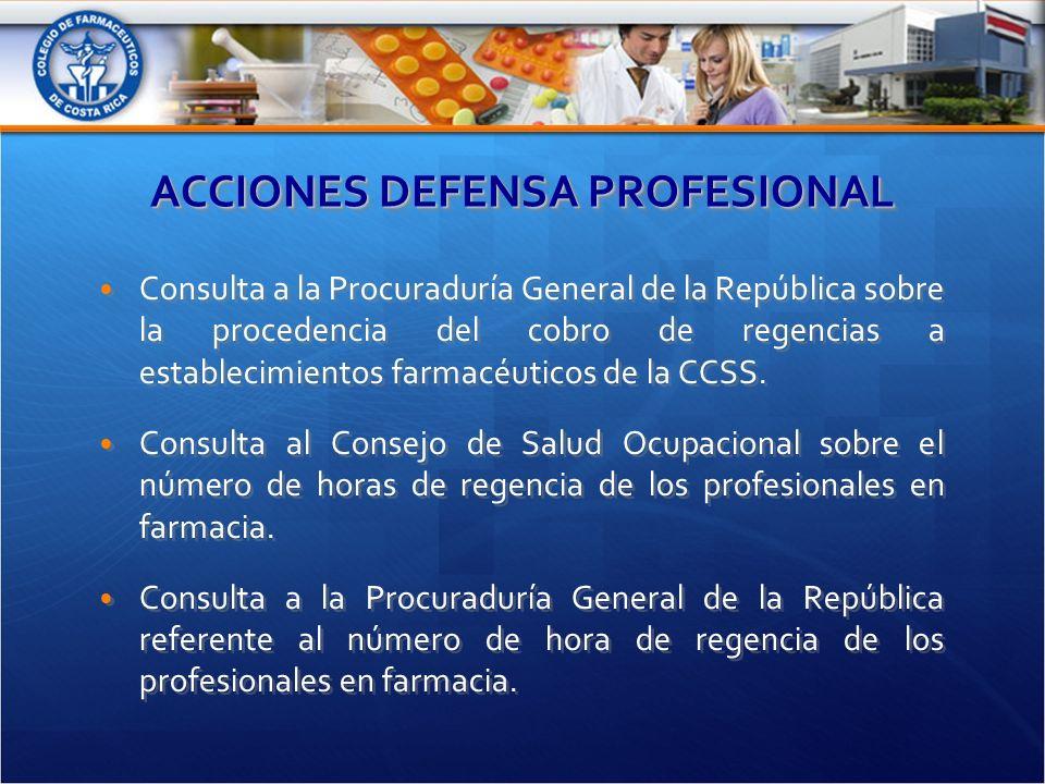 ACCIONES DEFENSA PROFESIONAL Consulta a la Procuraduría General de la República sobre la procedencia del cobro de regencias a establecimientos farmacéuticos de la CCSS.