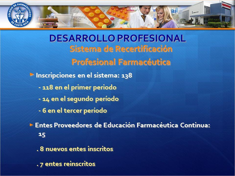 DESARROLLO PROFESIONAL Sistema de Recertificación Profesional Farmacéutica Inscripciones en el sistema: 138 - 118 en el primer periodo - 14 en el segundo período - 6 en el tercer período Entes Proveedores de Educación Farmacéutica Continua: 15.