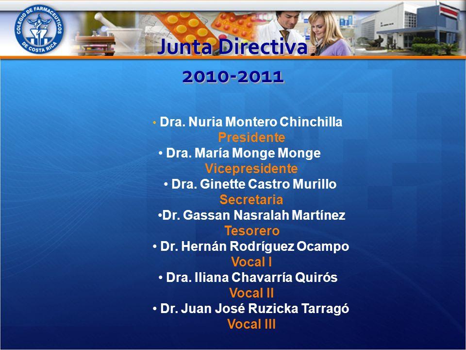 Junta Directiva 2010-2011 Dra. Nuria Montero Chinchilla Presidente Dra.