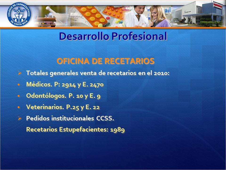 Desarrollo Profesional OFICINA DE RECETARIOS Totales generales venta de recetarios en el 2010: Médicos.