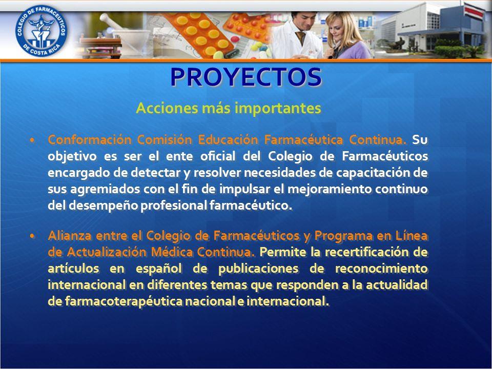PROYECTOSPROYECTOS Acciones más importantes Conformación Comisión Educación Farmacéutica Continua.