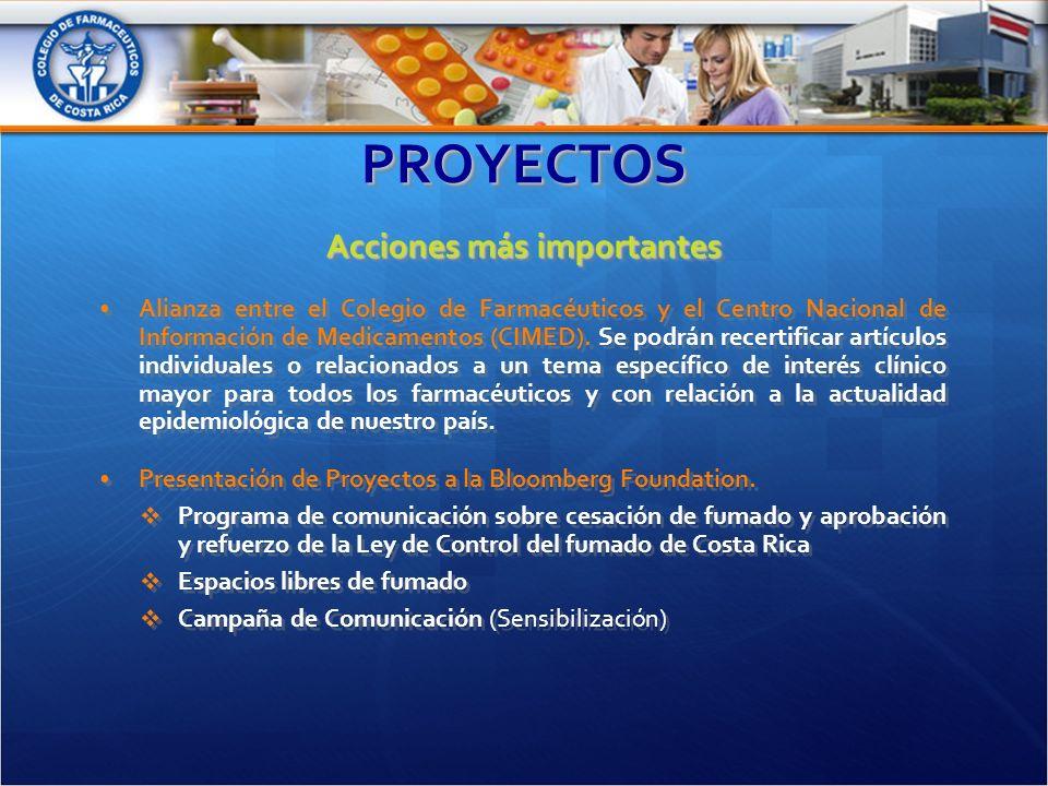PROYECTOSPROYECTOS Acciones más importantes Alianza entre el Colegio de Farmacéuticos y el Centro Nacional de Información de Medicamentos (CIMED).