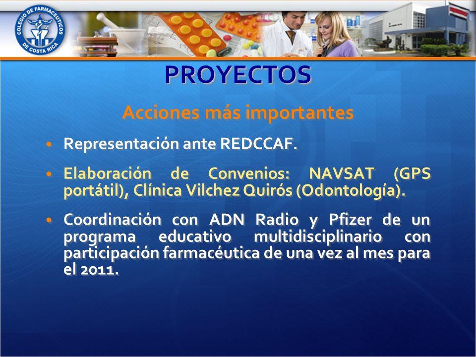 PROYECTOSPROYECTOS Acciones más importantes Representación ante REDCCAF.
