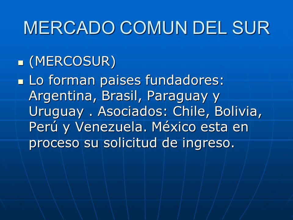 MERCADO COMUN DEL SUR (MERCOSUR) (MERCOSUR) Lo forman paises fundadores: Argentina, Brasil, Paraguay y Uruguay. Asociados: Chile, Bolivia, Perú y Vene