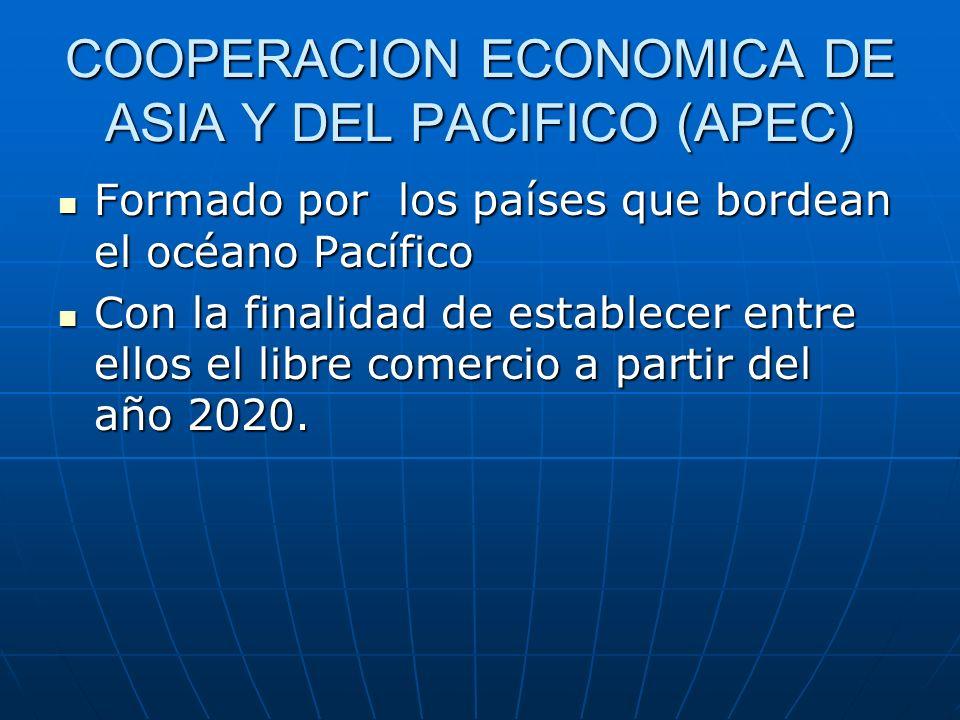 COOPERACION ECONOMICA DE ASIA Y DEL PACIFICO (APEC) Formado por los países que bordean el océano Pacífico Formado por los países que bordean el océano