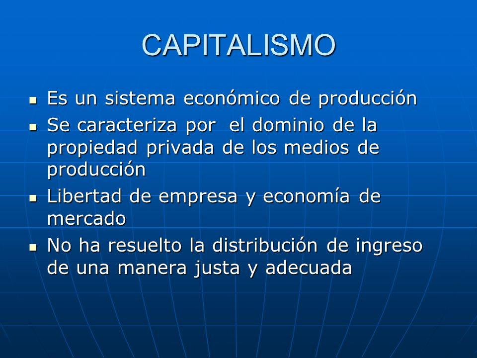 CAPITALISMO Es un sistema económico de producción Es un sistema económico de producción Se caracteriza por el dominio de la propiedad privada de los m