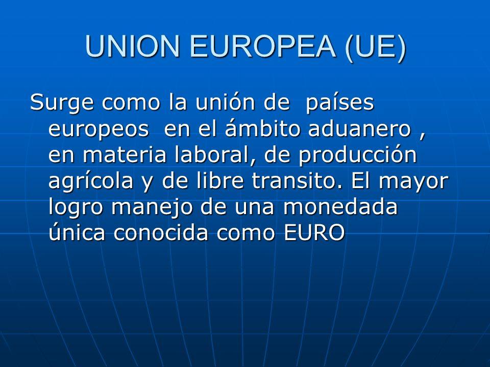 UNION EUROPEA (UE) Surge como la unión de países europeos en el ámbito aduanero, en materia laboral, de producción agrícola y de libre transito. El ma