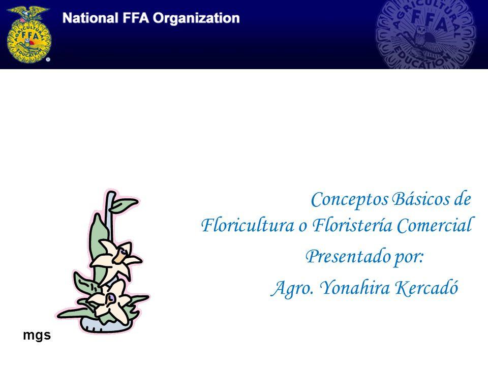 Conceptos Básicos de Floricultura o Floristería Comercial Presentado por: Agro. Yonahira Kercadó mgs