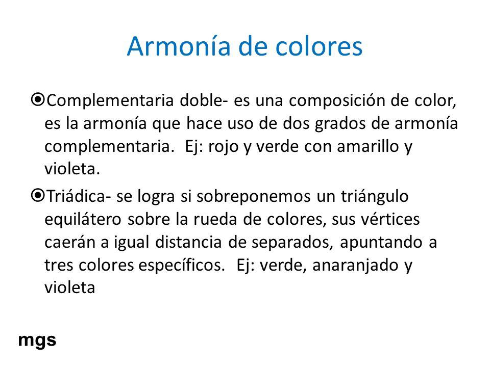 Armonía de colores Complementaria doble- es una composición de color, es la armonía que hace uso de dos grados de armonía complementaria. Ej: rojo y v