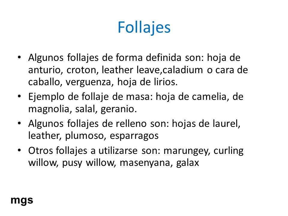 Follajes Algunos follajes de forma definida son: hoja de anturio, croton, leather leave,caladium o cara de caballo, verguenza, hoja de lirios. Ejemplo