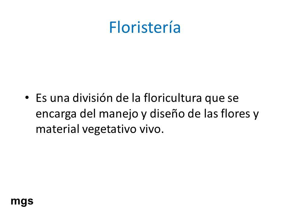 Floristería Es una división de la floricultura que se encarga del manejo y diseño de las flores y material vegetativo vivo. mgs