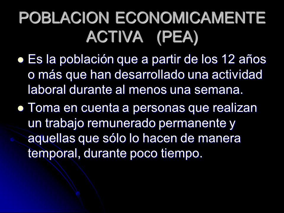 POBLACION ECONOMICAMENTE ACTIVA (PEA) Es la población que a partir de los 12 años o más que han desarrollado una actividad laboral durante al menos un