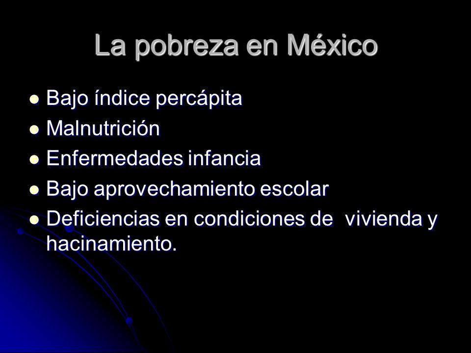 La pobreza en México Bajo índice percápita Bajo índice percápita Malnutrición Malnutrición Enfermedades infancia Enfermedades infancia Bajo aprovecham