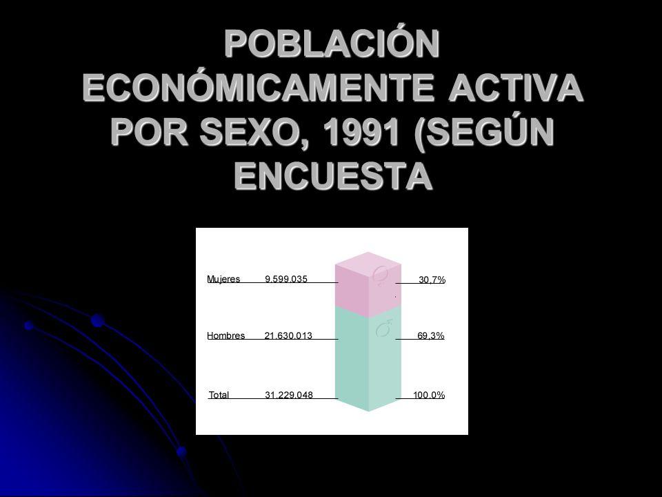 POBLACIÓN ECONÓMICAMENTE ACTIVA POR SEXO, 1991 (SEGÚN ENCUESTA