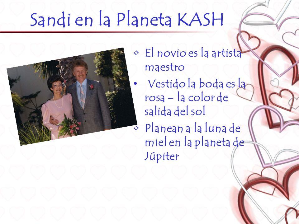 Sandi en la Planeta KASH El novio es la artista maestro Vestido la boda es la rosa – la color de salida del sol Planean a la luna de miel en la planeta de Júpiter