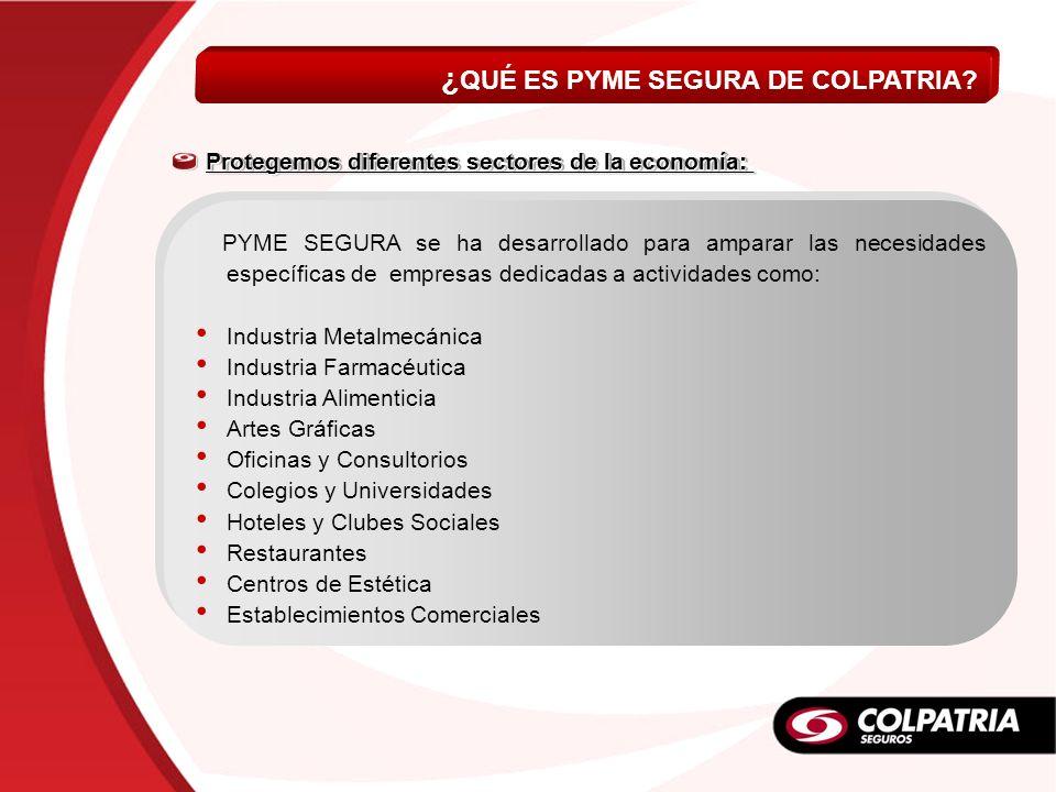 ¿ QUÉ ES PYME SEGURA DE COLPATRIA? PYME SEGURA se ha desarrollado para amparar las necesidades específicas de empresas dedicadas a actividades como: I