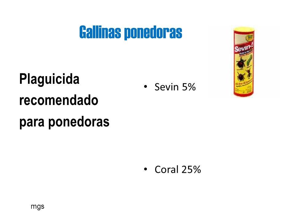 Gallinas ponedoras Plaguicida recomendado para ponedoras Sevin 5% Coral 25% mgs