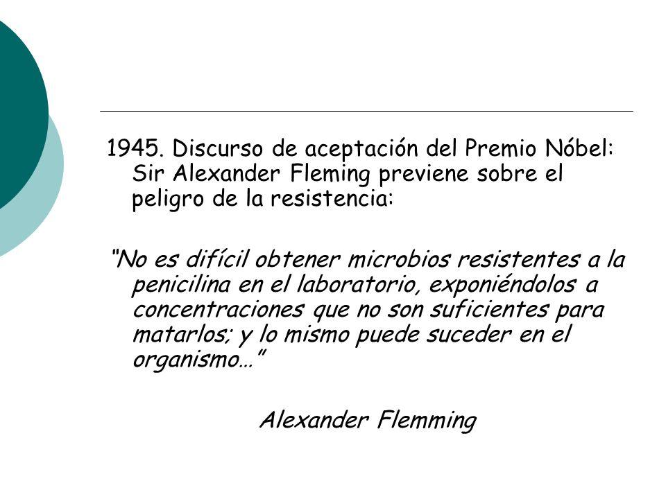 1945. Discurso de aceptación del Premio Nóbel: Sir Alexander Fleming previene sobre el peligro de la resistencia: No es difícil obtener microbios resi
