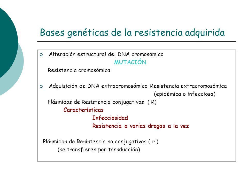 Bases genéticas de la resistencia adquirida Alteración estructural del DNA cromosómico MUTACIÓN Resistencia cromosómica Adquisición de DNA extracromos