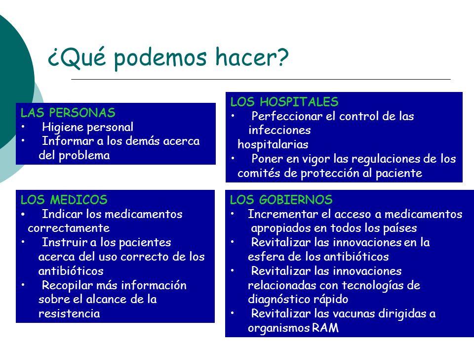 ¿Qué podemos hacer? LAS PERSONAS Higiene personal Informar a los demás acerca del problema LOS MEDICOS Indicar los medicamentos correctamente Instruir