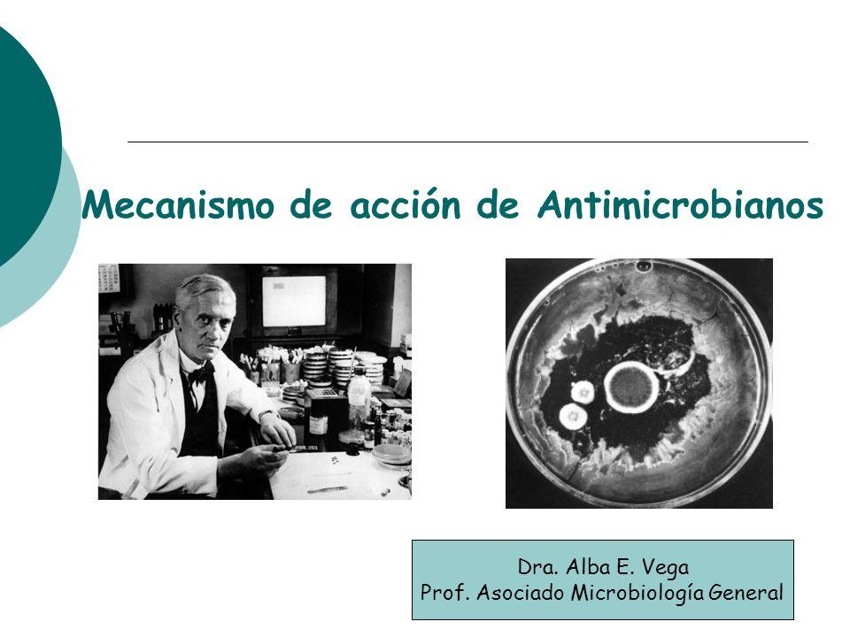 Mecanismo de acción de Antimicrobianos Dra. Alba E. Vega Prof. Asociado Microbiología General