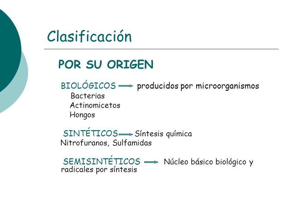 Clasificación POR SU ORIGEN BIOLÓGICOS producidos por microorganismos Bacterias Actinomicetos Hongos SINTÉTICOS Síntesis química Nitrofuranos, Sulfami