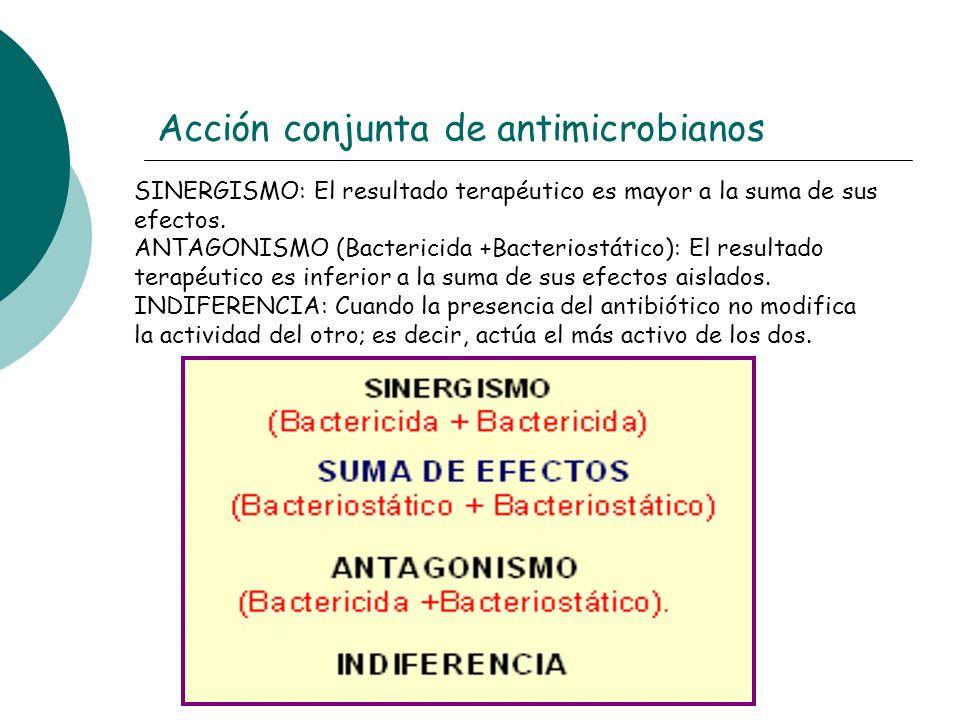 Acción conjunta de antimicrobianos SINERGISMO: El resultado terapéutico es mayor a la suma de sus efectos. ANTAGONISMO (Bactericida +Bacteriostático):