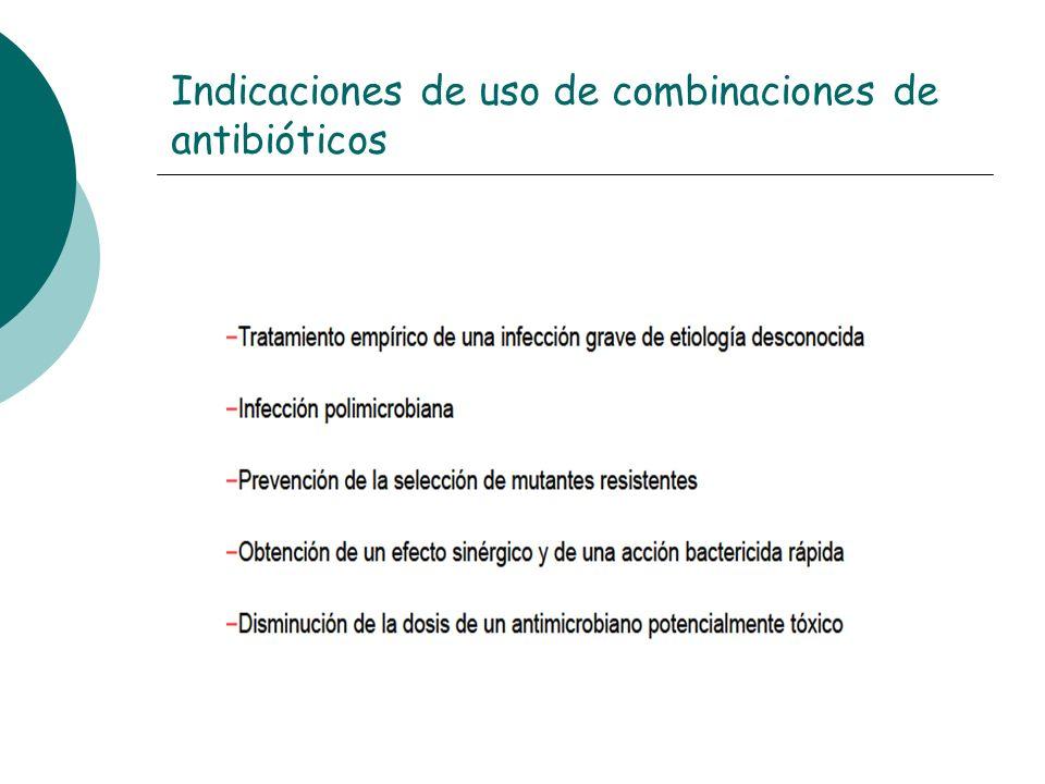 Indicaciones de uso de combinaciones de antibióticos