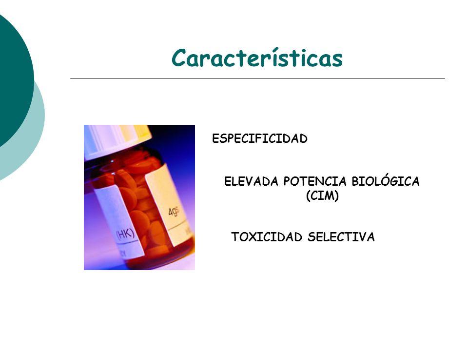 Características ESPECIFICIDAD ELEVADA POTENCIA BIOLÓGICA (CIM) TOXICIDAD SELECTIVA