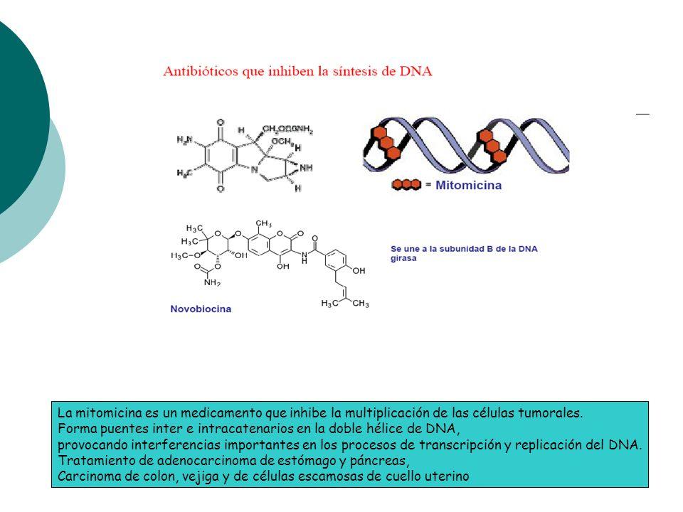 La mitomicina es un medicamento que inhibe la multiplicación de las células tumorales. Forma puentes inter e intracatenarios en la doble hélice de DNA