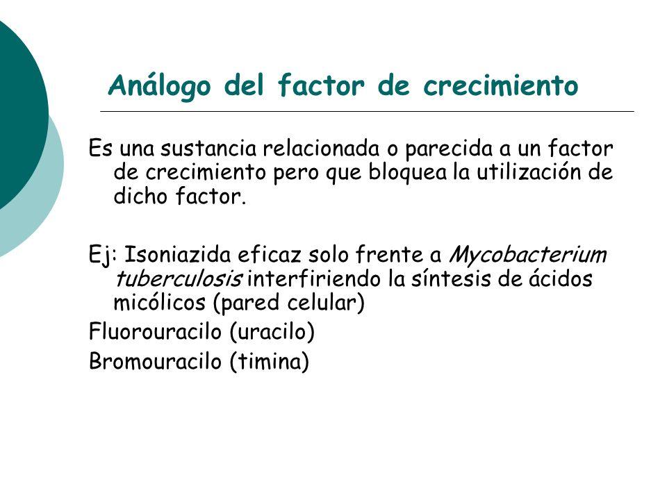 Análogo del factor de crecimiento Es una sustancia relacionada o parecida a un factor de crecimiento pero que bloquea la utilización de dicho factor.