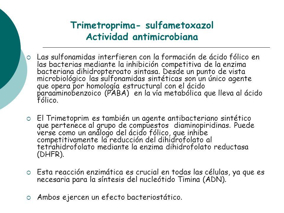 Trimetroprima- sulfametoxazol Actividad antimicrobiana Las sulfonamidas interfieren con la formación de ácido fólico en las bacterias mediante la inhi