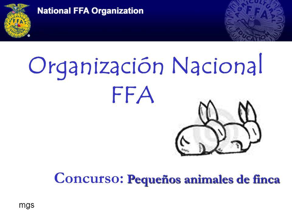 Organización Nacional FFA Pequeños animales de finca Concurso: Pequeños animales de finca mgs