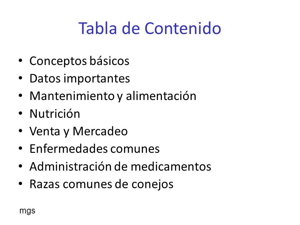 Tabla de Contenido Conceptos básicos Datos importantes Mantenimiento y alimentación Nutrición Venta y Mercadeo Enfermedades comunes Administración de medicamentos Razas comunes de conejos mgs