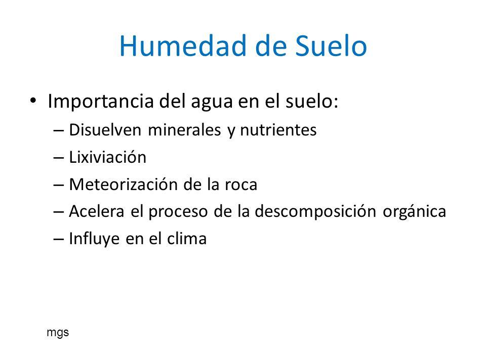 Humedad de Suelo Importancia del agua en el suelo: – Disuelven minerales y nutrientes – Lixiviación – Meteorización de la roca – Acelera el proceso de