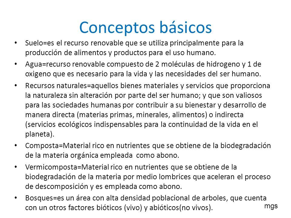 Conceptos básicos Suelo=es el recurso renovable que se utiliza principalmente para la producción de alimentos y productos para el uso humano. Agua=rec