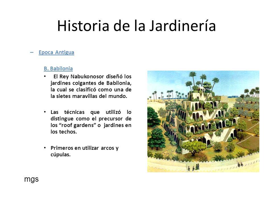 Historia de la Jardinería – Epoca Antigua B. Babilonia El Rey Nabukonosor diseñó los jardines colgantes de Babilonia, la cual se clasificó como una de