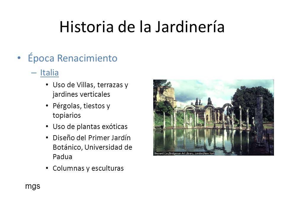 Historia de la Jardinería Época Renacimiento – Italia Uso de Villas, terrazas y jardines verticales Pérgolas, tiestos y topiarios Uso de plantas exóti