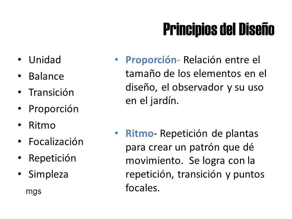 Principios del Diseño Unidad Balance Transición Proporción Ritmo Focalización Repetición Simpleza Proporción- Relación entre el tamaño de los elemento